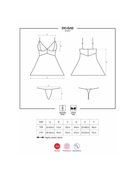 Camisa De Noite E Tanga 810-Bab Obsessive Preta - 36-38 S/M - PR2010346151