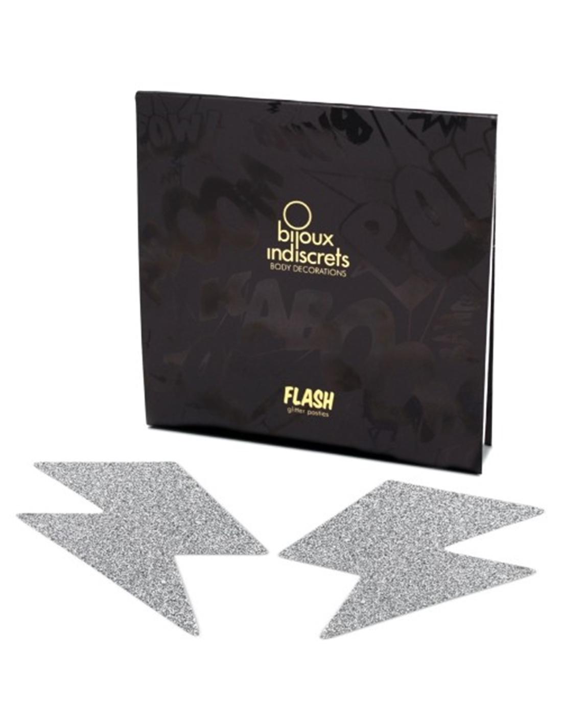 Tapa Mamilos Flash Glitter Bolt Bijoux Indiscrets Prateados - PR2010324272