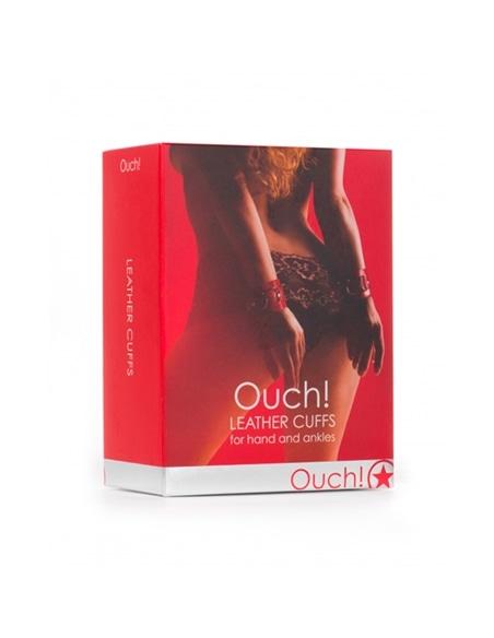 Algemas Ouch! Leather Handcuffs Vermelhas - Vermelho #2 - PR2010318028