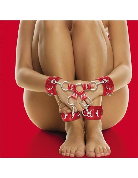 Algemas para Os Pulsos e Tornozelos Ouch! Leather Hand And Leg Cuffs Vermelhas - Vermelho - PR2010318031